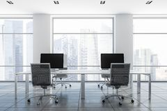 Free White Loft Office Interior, Computer Screens Stock Photo - 128035550