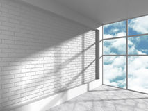 White loft room with brick wall and big window. 3d render illustration Royalty Free Stock Images