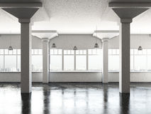 White loft room with columns Stock Image