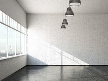 White loft room with windows Stock Images