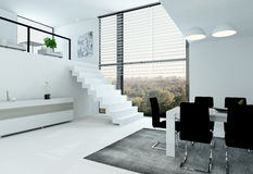 White loft with stair and dining table Royalty Free Stock Images