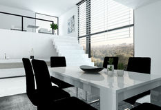 White loft with stair and dining table Royalty Free Stock Image