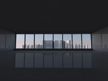 White loft with window to city 3D rendering. White loft with window to  skyscrapers 3D rendering Royalty Free Stock Images