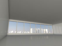 White loft with window to city 3D rendering. White loft with window to  skyscrapers 3D rendering Stock Images
