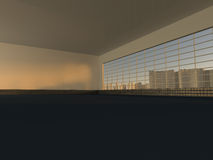 White loft with window to city 3D rendering. White loft with window to  skyscrapers 3D rendering Stock Photography