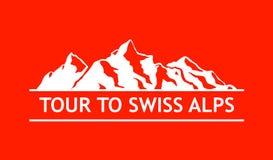 White Logo of Swiss Mountains Royalty Free Stock Image