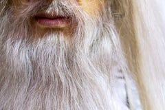 White long beard of a wizard, wax figure near, mouth and beard. White long beard of a wizard, wax figure near Royalty Free Stock Photography