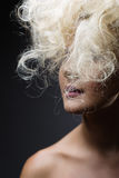 White Long Curly Wild Hair. Fashion Woman Portrait. Stock Image
