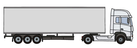 White long semitrailer. Hand drawing of a white long semitrailer Stock Photography