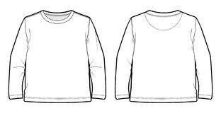 White long-sleeved T-shirt. Front and back view of a long-sleeved T-shirt stock illustration