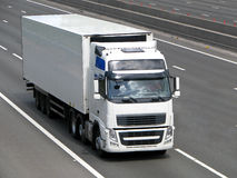 White lorry. On the road royalty free stock photo