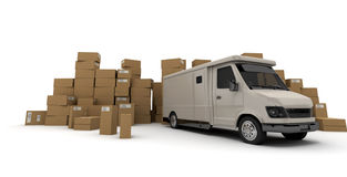 White lorry and Boxes. 3D rendering of a white van and piles of cardboard boxes (I made up the information on the labels so no copyright issue Stock Images