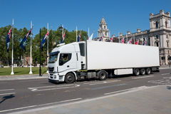 White lorry in London. White lorry passing central London stock images
