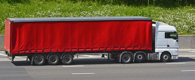 White lorry red trailer Stock Image