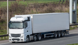 White lorry on the road Royalty Free Stock Images