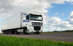 White lorry with white trailer Stock Image