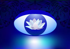 White lotus logo. Logo with white lotus and  third eye on a background of a floral pattern. Fantasy background Stock Images