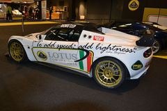 White Lotus luxury racing car exposed at Brianza Motorshow Royalty Free Stock Photography