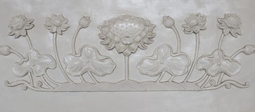 White lotus sculpture banister. In chinese temple Royalty Free Stock Images