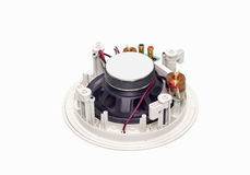 White  loudspeaker with copper wire coil and clips isolated Royalty Free Stock Photos
