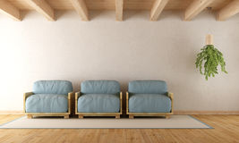 White lounge with pallet armchair Stock Image