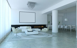 White lounge style living room. White minimalist lounge style living and dining room with fireplace Stock Images