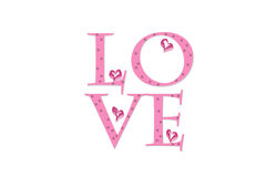 White love greeting card with pink love sign Stock Photos