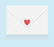 White love letter with flying heart sticker Stock Photo