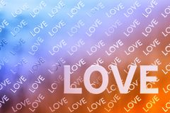 White love letters. Abstract background with white love letters on the background of  repeting love words in light orange blue colors. 3d illustration stock illustration