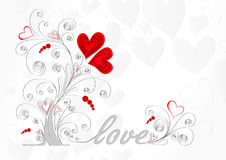 White love tree with curls and red hearts on a gray background Stock Photography