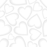 White low contrasting seamless vector background with heart shapes.. Small cute hearts with light gray shadow. Vector EPS10 Royalty Free Stock Image
