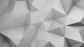 White low poly 3D surface chaotic deformed. Abstract geometric background. 3D render illustration Stock Images