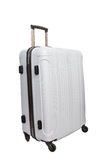 White luggage traveling suitcase isolated white background Royalty Free Stock Photography