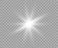 White luminous transparent light. Vector Christmas star, a bright flash of light. Glitter isolated transparent background. stock illustration