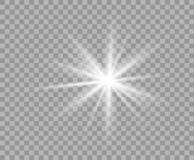 White luminous transparent light. Vector Christmas star, a bright flash of light. Glitter isolated transparent background. royalty free illustration