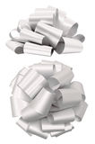 White lush bow isolated clipping path Stock Images