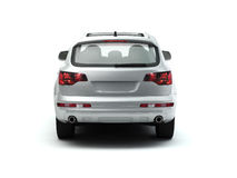 White luxory SUV back view stock illustration