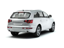 White luxory SUV back view Royalty Free Stock Photo