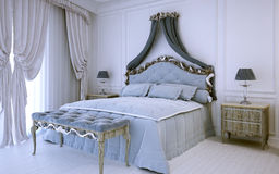 White luxury bedroom in neoclassic style. 3D render Stock Photography