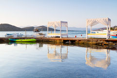White luxury beds at Mirabello Bay on Crete. Greece Royalty Free Stock Photos
