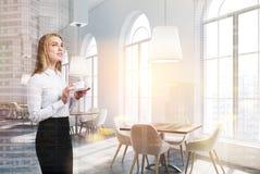 White luxury cafe interior, woman Stock Photos