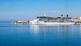 White luxury cruise ship moored in Ajaccio port, Corsica Royalty Free Stock Images