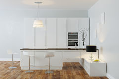 White Luxury Hi-Tech Kitchen With Bar (Front View) Stock Images