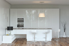 White Luxury Hi-Tech Kitchen With Bar (Front View) Stock Photo