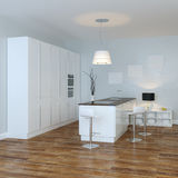 White Luxury Hi-Tech Kitchen With Bar (Perspective View) Royalty Free Stock Photo