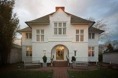 White luxury house. Frontal view of white house Stock Photo