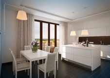 White luxury kitchen in a new modern home. 3D rendering. White luxury kitchen, with spring flower, in a new modern home Royalty Free Stock Photography