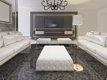 White luxury living room interior and black storage TV in a deco Royalty Free Stock Images