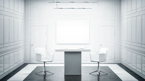 White luxury office interior design with blank banner on wall royalty free stock photo
