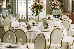 White luxury round table for the guests Royalty Free Stock Image